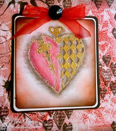 Gelli Heart (posted by Claire) I began by taking making a background using my gelli plate and brayering on some Rhubarb Stalk Memento Ink. I used the 12x12 Prima 'Flowers' stencil and took some prints. I used one as a base for this card, over stamping with the heart background stamp and also inking in some of the flowers using the same stencil. I used a corner punch to round the corners and matted on white and then black card.