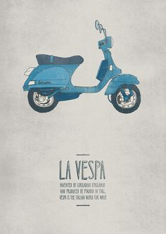 """""""La Vespa"""" by illustrator Emily Isles. I won't quibble about THIS Vespa likely not having been designed by Corradino D'Ascanio because the poster's still cute. Graphic Design Illustration, Illustration Art, Italian Posters, Foto Transfer, Graphisches Design, Chair Design, Posters Vintage, Italian Words, Retro Vintage"""
