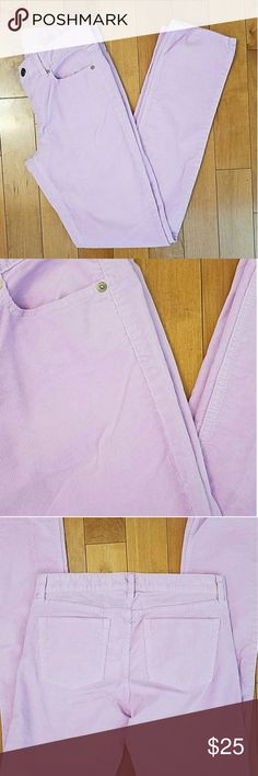 """J. Crew Matchstick Corduroy Pants J. Crew Matchstick Corduroy Pants  Beautiful light lavender color that's great for spring! Size 27R 31.5"""" inseam 15"""" across waistband  98% cotton, 2% spandex J. Crew Pants"""