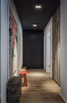 Best Ceiling Paint Color Ideas And How To Choose It Apartment Berlin Mitte By Annabell Kutucu Via Behance Best Ceiling Paint, Ceiling Paint Colors, Black Ceiling Paint, Hallway Paint Colors, Hallway Ceiling, Dark Ceiling, Hallways, Led Ceiling, Ceiling Ideas