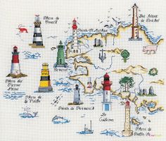 phares bretons (imagine all the ships crashing along the coast without them) France Map, France Travel, Beacon Tower, World History Lessons, Beacon Of Hope, Cross Stitch Pictures, Light Of My Life, Travel Maps, Landscape Illustration