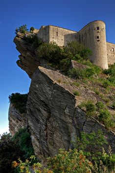 Roccascalegna Castle ~ commonly known as the castle in the sky. The castle sits perched over 100m on top of the larger of a pair of limestone formations protruding from the valley floor in Abruzzo, Italy