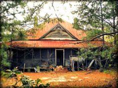 Forest Glen Area Wilcox County GA Abandoned Folk Victorian Farmhouse Half Wagon Wheel Cornice Rusted Tin Pyramidal Hip Roof Screened in Fron...