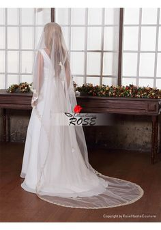 Wedding Veil One Layer Tulle Bridal Veil Cathedral Length Gold Beaded Lace Edge No Comb Style BV019 - Wedding Veil