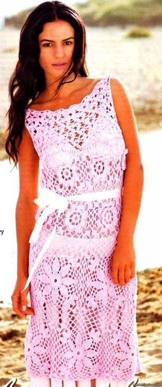 Очаровательное летнее вязаное платье 1