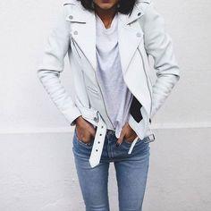 Pepa Mack - White Leather Jacket + White T-Shirt