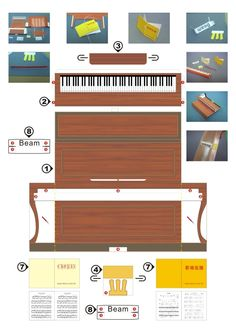 Upright piano pop up printable