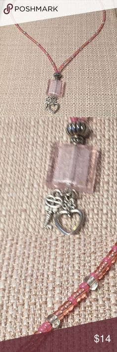 """Cute Pink Glass """"Key To My Heart"""" Charm Necklace A pretty silver foil-lined lamp worked square bead is the focal point and anchor in the design for little .925 Tibetan Silver heart and key charms.  The """"chain"""" has been upgraded to a hand-strung strand of mixed pink Czech glass seed beads.  Great gift for girls and young women! JK Designs Jewelry Necklaces"""