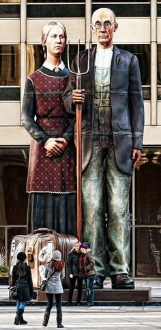 Chicago Gothic, Pioneer Plaza, 401 North Michigan Ave. Chicago, Illinois. 25-foot patterned after Grant Wood 1930 painting American Gothic, Art Institute, Chicago •