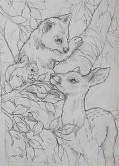 Jody Bergsma deer bear coloring pages Animal Coloring Pages, Colouring Pages, Adult Coloring Pages, Coloring Books, Pencil Art Drawings, Art Drawings Sketches, Animal Sketches, Animal Drawings, Pyrography Patterns