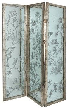3 Panel Glass Screen Room Divider traditional screens and wall dividers