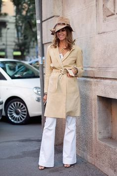 carine- a classy hat, tan coat, and white pants~superb