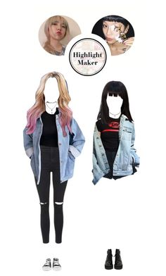 """""""audition for highlight maker –– 보연 &レイコ"""" by eight-o-eight-official ❤ liked on Polyvore featuring RUKA, Topshop, Wet Seal, Converse, Nobody Denim and highlightauditions"""