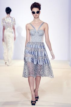 Graphic Tile Lace Strapless Dress, SS13