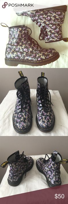 """Dr. Martens floral boots Sweet boots by Dr. Martens! I love them but I don't wear them anymore :/ Some wear to the toes and sides from use (see photos). Gives them a great """"vintage"""" worn-in look! Genuine leather upper. Air cushion rubber soles. Dr. Martens Shoes Combat & Moto Boots"""
