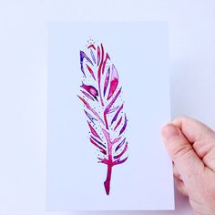 Watercolor Feathers Art Print in Pinks and Purples. by MikaHarmony