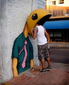 Phone Box Street Art. Unknown Artist