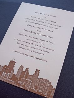 custom letterpress-printed wedding invitations featuring the Minneapolis skyline Black Wedding Invitations, Save The Date Invitations, Custom Invitations, Party Invitations, Invites, Invitation Ideas, Letterpress Wedding Invitations, Letterpress Printing, Wedding Invitation Wording