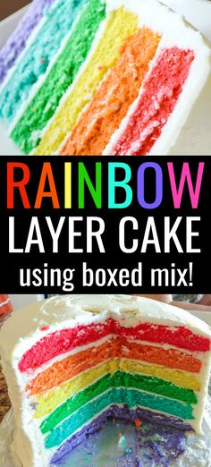This 6 Layer Rainbow Cake Recipe is so easy and delicious! Learn how to make it with boxed cake mix and top it off with buttercream frosting! Easy Rainbow Cake Recipe, Rainbow Swirl Cake, Rainbow Layer Cakes, Two Layer Cakes, Layer Cake Recipes, Cake Mix Recipes, Tie Dye Cakes, Easy Buttercream Frosting, Rainbow Food