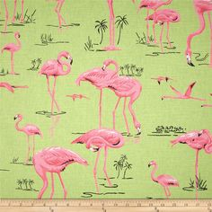Duralee Flamingo Bermuda Sale Fabric a green background cotton print with pink Flamingos. Duralee Designer Fabric On Sale Now! Fabric Birds, Ikat Fabric, Drapery Fabric, Wall Fabric, Flamingo Color, Pink Flamingos, Summer Patterns, Toss Pillows, Outdoor Fabric