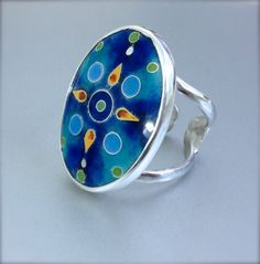 Cloisonné Enamel Oval silver ring by agoraart on Etsy, $160.00