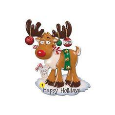 Personalized Christmas Moose Christmas Ornament. $11.50, via Etsy.