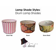 Drum lamp shades are very popular today. Order custom lamp shades (703-623-5952) or buy designer lamp shades at www.etsy.com/shop/elledaniel. #LampShades #Custom #Designer