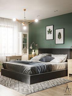 Ideas for bathroom cabinets vintage doors Green And White Bedroom, Green Bedroom Walls, Green Master Bedroom, Bedroom Wall Colors, Green Rooms, Room Ideas Bedroom, Home Decor Bedroom, Home Living Room, Modern Bedroom