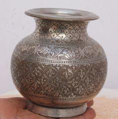 Antique Vintage Beautiful Hand Carved Design Brass Water Pot / Lota