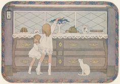 "H. Willebeek Le Mair Illustrations: The Children's Corner.   |    NYPL Print: ""Girls Stealing Grapes."""