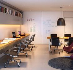 # Design How you place your furniture in the office highly affects productivity. These creative office furniture layouts will get people impressed and excited to work. 3 Important Office Furniture Layout to Improve Productivity Small Office Design, Office Table Design, Office Furniture Design, Office Seating, Workspace Design, Office Workspace, Office Interior Design, Furniture Layout, Office Interiors