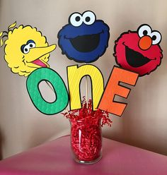 Sesame Street Elmo, Cookie Monster and Big Bird inspired ONE or TWO Table Centerpiece Sticks. Adorable!!! •••This listing makes 1 centerpiece. Feel free to add as many as you need to cart, to make your party The Cutest On The Block. ***Included are 6 sticks for one sided, and 9