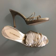 BCBGMAXAZRIA gold platform slides sz 35.5 New BCBGMAXAZRIA gold platform slides sz 35.5. US 5.5.in leather. very elegant classy design BCBGMaxAzria Shoes Platforms