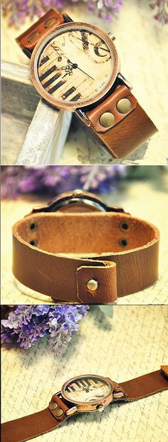 Stan vintage watches — vintage mad cow leather, Women Leather Wrist Watch