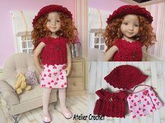 Ensemble Bordeaux couture et crochet pour poupée Little Darling