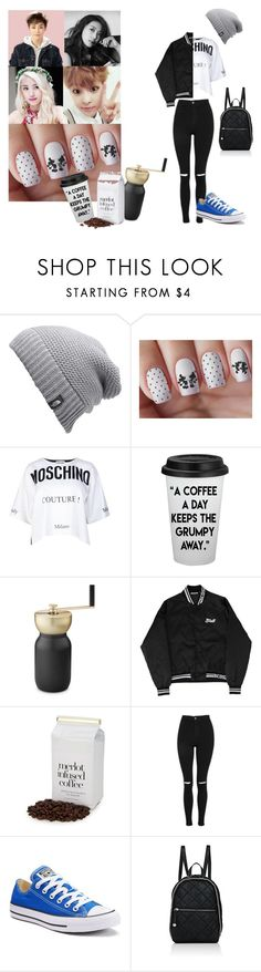 """""""HwaYoung- Drinking Coffee WIth Xiumin Oppa"""" by kpop-rp-account ❤ liked on Polyvore featuring The North Face, Moschino, Stelton, Topshop, Converse and STELLA McCARTNEY"""