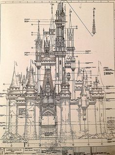 ✽ south elevation architectural drawing for magic kingdom's cinderella castle Plans Architecture, Classic Architecture, Architecture Drawings, Gothic Architecture, Amazing Architecture, Architecture Details, Magic Kingdom, Cinderella Castle, Cinderella Drawing