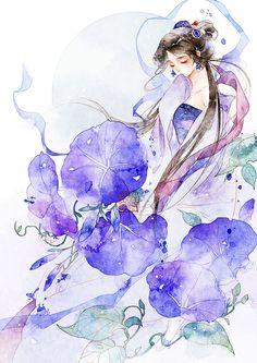 夕颜-清茗_原创,插画,古风,水彩_涂鸦王国插画