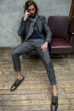 Blue Demin Shirt / Grey Suit