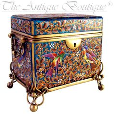 Antique 19thc Bohemian MOSER Blue Art Glass Raised Enamel Jewelry Box / Sugar Casket  The Antique Boutique on Ruby Lane