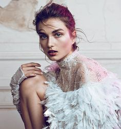 Andreea Diaconu in 'Couture Creations' Photographer: Lachlan Bailey Dress: Chanel Haute Couture S/S 2013 WSJ Magazine July/August 2013 Fashion Art, Feather Fashion, Foto Fashion, Fashion Week, Editorial Fashion, Runway Fashion, Fashion Design, Bridal Fashion, White Editorial