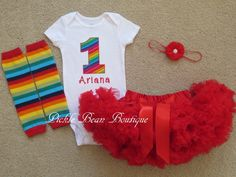 Girls Rainbow Circus First Birthday Outfit by PickleBeanBoutique Circus First Birthday, Circus 1st Birthdays, 1st Birthday Onesie, Rainbow First Birthday, First Birthday Outfit Girl, Baby Girl 1st Birthday, Birthday Party Outfits, First Birthday Parties, First Birthdays