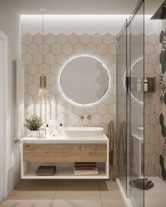 50 Small Bathroom Design Ideas For 2020 These trendy Home Decor ideas would gain. - 50 Small Bathroom Design Ideas For 2020 These trendy Home Decor ideas would gain you amazing compli - Modern Bathroom Decor, Modern Bathroom Design, Bathroom Interior Design, Scandinavian Bathroom, Light Bathroom, Interior Modern, Designs For Small Bathrooms, Round Bathroom Mirror, Small Home Interior Design