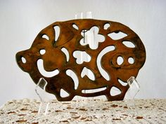 Rustic Kitchen Copper and Cast Metal Pig Shaped by GSaleHunter