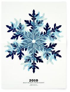 Overlaid snowflake wood print