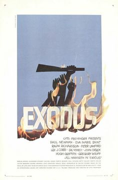 """MP156. """"Exodus"""" American Movie Poster by Saul Bass (Otto Preminger 1960) / #Movieposter"""