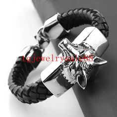 best price high quality black braid leather cool mens bracelet silver tone wolf head stainless steel cuff #wolf #bracelet