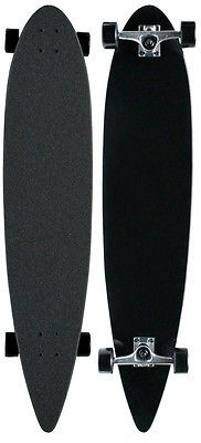 Black-CRUISER-PINTAIL-LONGBOARD-Skateboard-COMPLETE-9-in-x-43-in