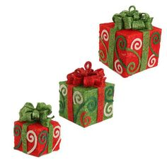 Lighted Red Green Swirl Packages