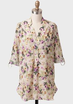 Shopruche.com...Forgotten Wood Floral Button-up...This cream-colored blouse features a colorful antique floral print and abalone front button closures. $36